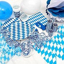 OKTOBERFEST - 389-teiliges Party Set Bavaria für 50 Personen im weiß blauen Rauten Design - Dekoration im bayrischen Stil