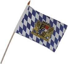 Oktoberfest 5 Stück Stabfahnen Bayern mit Wappen 30x40cm an Holzstab