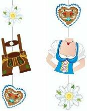 """Oktoberfest, bayerische Wiesn 2016, passende Dekoration und Produkte zur Wiesn alles """"Bayrisch Blau"""" : Servietten / Papiertischtuch / Mitteldecken / Tischläufer / Tischsets / Teller / Trinkbecher / Bierbecher / Dekofächer, Deko-Accessoires, Tischaufsteller """"Ozapft is!"""" / Wabenball / Dekokranz / Luftschlangen / Luftballons / Flaggenkette, Hängedekoration """"Gruß vom Oktoberfest"""" / Krepp-Bänder / Girlanden / Deko-Picker / (1 Paar Hängedekoration 75 cm """"Trachten & Dirndl"""")"""