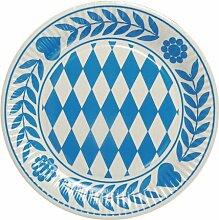 """Oktoberfest, bayerische Wiesn 2016, passende Dekoration und Produkte zur Wiesn alles """"Bayrisch Blau"""" : Servietten / Papiertischtuch / Mitteldecken / Tischläufer / Tischsets / Teller / Trinkbecher / Bierbecher / Dekofächer, Deko-Accessoires, Tischaufsteller """"Ozapft is!"""" / Wabenball / Dekokranz / Luftschlangen / Luftballons / Flaggenkette, Hängedekoration """"Gruß vom Oktoberfest"""" / Krepp-Bänder / Girlanden / Deko-Picker / (20 St Teller, Pappe rund Ø 23 cm)"""