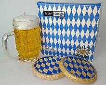 Oktoberfest Dekoration Set Servietten + Bierglas Kerze + 2x Bierdeckel (Bayernraute)