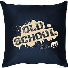 OLD SCHOOL Since 1995 : Kissen mit Füllung - Witziges Zusatzkissen, Kuschelkissen, 40x40 als Geschenkidee. Navy Blau