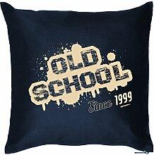 OLD SCHOOL Since 1999 : Kissen mit Füllung - Witziges Zusatzkissen, Kuschelkissen, 40x40 als Geschenkidee. Navy Blau