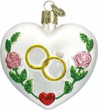 Old World Weihnachten Hochzeit Herz Glas geblasen