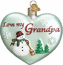Old World Weihnachten Opa Herz Glas geblasen