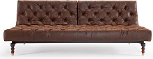 Oldschool - Schlafsofa - Leather Look Brown Vintage