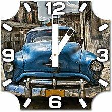 Oldtimer, Design Wanduhr aus Alu Dibond zum Aufhängen, 30 cm Durchmesser, breite Zeiger, schöne und moderne Wand Dekoration, mit qualitativem Quartz Uhrwerk
