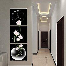 olileio das klassische Weiß und Schwarz Creative Wohnzimmer keine Bilderrahmen Animation Wanduhr mit foto-jong-orologio Wanduhr Super silenziati Kunst, 40* 40,25mm Wanduhr, Vasen von Kristall Film