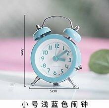 OLILEIO niedlichen kleinen Wecker Student kreative minimalistischen Metall Schlafzimmer Bett Mute Kind Mini Dekoration Wecker, Trompete Hellblau Wecker