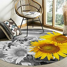 Olivefox Runder Teppich mit Sonnenblumenfeld,