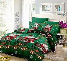 Oliven Bettwäsche-Set, Weihnachtsmotiv, 4-teilig