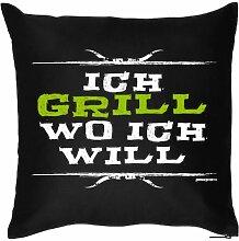 olles Griller Kissen : Ich grill, wo ich will! , Statement - mit Kissenfüllung