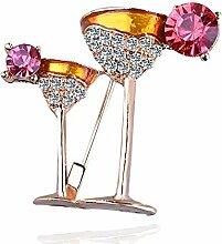 Olydmsky Diamant-Größe rot Wein Tasse Brosche,