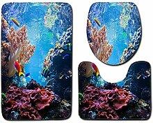 Olydmsky Ozean Bad WC dreiteilige Set Boden Matte