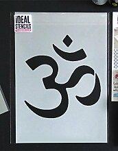 Om Symbol Schablone buddhistisch Symbol wiederverwendbar Heim Wand Dekor , Kunst & Handwerk Schablone Wandfarbe Stoffe & Möbel - semi transparent Schablone, M/ 25X27CM