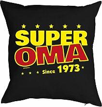 Oma Sprüche-Kissen zum 45 Geburtstag - Geschenk-Idee Dekokissen Jahrgang 1973 : Super Oma since 1973 -- Geburtstag 45 Kissen Farbe: schwarz
