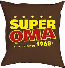 Oma Sprüche-Kissen zum 50 Geburtstag - Geschenk-Idee Dekokissen Jahrgang 1968 : Super Oma since 1968 -- Geburtstag 50 Kissen Farbe: braun