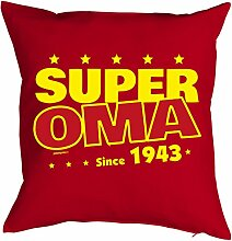 Oma Sprüche-Kissen zum 75 Geburtstag - Geschenk-Idee Dekokissen Jahrgang 1943 : Super Oma since 1943 -- Geburtstag 75 Kissenbezug ohne Füllung - Farbe: ro