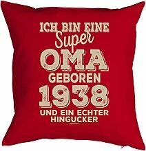 Oma Sprüche-Kissen zum 80 Geburtstag - Geschenk-Idee Dekokissen Jahrgang 1938 : ...super Oma geboren 1938 -- Geburtstag 80 Kissen Farbe: ro