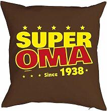 Oma Sprüche-Kissen zum 80 Geburtstag - Geschenk-Idee Dekokissen Jahrgang 1938 : Super Oma since 1938 -- Geburtstag 80 Kissen Farbe: braun