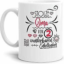 Oma-Tasse Stolze Oma von 2 Enkelkindern Weiss -