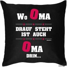 OMA VERSTEHER - Geschenkidee Wo OMA drauf steht… Kissenbezug - Geschenk zum Geburtstag Weihnachten - Print Motiv Kissenhülle Deko 40x40cm schwarz : )
