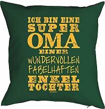 OMA VERSTEHER SUPER OMA …einer ENKELTOCHTER Kissenbezug - Geschenkidee Vatertag zum Geburtstag Weihnachten - Print Motiv Kissenhülle Deko 40x40cm tannengrün : )