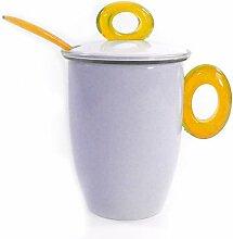 Omada Keramikbecher Spot mit Plastikfilter und Löffel, gelb