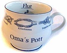 Omas Pott- Porzellan- Tasse, Kaffeepott, Becher + Innendruck Ebbe/Flut- Knotenranke