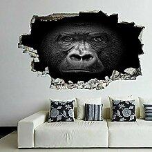 OMCCXO 3D Wandaufkleber Gorilla Portrait