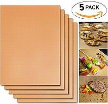Omiki 5Pcs nichtklebende Oberfläche Hitzebeständige BBQ Grill Mats Durable Barbecue Backmatten Grill-Auflage-Blatt, FDA genehmigt, PFOA-freie, Easy Clean (Gold)
