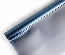 Ommda Fensterfolie Statisch Haftend Sonnenschutz Fensterfolie Blickdicht Von Aussen 90% UV-Schutz Blau 90x200cm