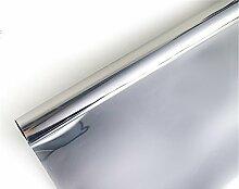 Ommda Fensterfolie Statisch Haftend Sonnenschutz Fensterfolie Blickdicht Von Aussen 97% UV-Schutz Silber 80x300cm