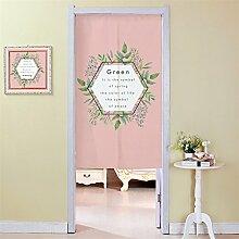 Ommda Noren Vorhang Türvorhang Modern Tür Vorhang küche Leinen mit Stange Pink 90x120cm
