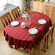 Ommda Tischdecke Abwaschbar Oval Plaid Tischdecke