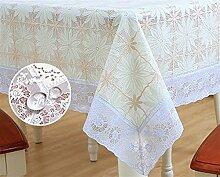 Ommda Tischdecke Abwaschbar PVC Blumen Tischdecke Lang Rechteckig Tischdeckenklammer Hochzeit 137X183 cm 117D