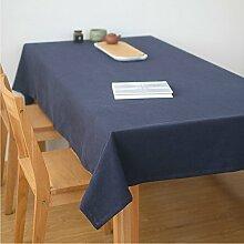 Ommda Tischdecke Leinen Abwaschbar Lang Rechteckig 130x160 Blau mit Tischdeckenklammer 6 Stück 6cm