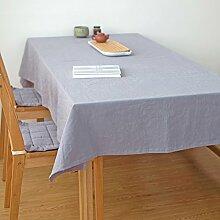 Ommda Tischdecke Leinen Abwaschbar Lang Rechteckig 140x200 Grau mit Tischdeckenklammer 6 Stück 6cm