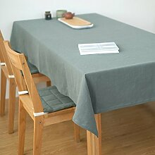 Ommda Tischdecke Leinen Abwaschbar Lang Rechteckig 90x130 Grün mit Tischdeckenklammer 6 Stück 6cm