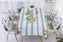 Ommda Tischdecke Leinen Abwaschbar Tischdecke Flamingo Bambus-Multiplex Muster Wasserabweisend Tischwäsche Modern 140x140cm mit 4 Stück Kissenbezug 45x45cm