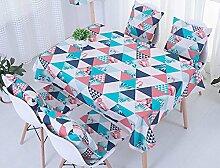 Ommda Tischdecke Leinen Abwaschbar Tischdecke Flamingo Dreieck Muster Wasserabweisend Tischwäsche Modern 85x85cm mit 4 Stück Kissenbezug 45x45cm