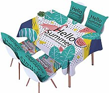 Ommda Tischdecke Leinen Tischdecke Abwaschbar Eckig Tischdecke Muster Pflegeleicht 60x60cm Hello Summer mit 4 Stück Kissenbezug 45x45
