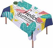 Ommda Tischdecke Leinen Tischdecke Abwaschbar Eckig Tischdecke Muster Pflegeleicht 110x170cm Hello Summer