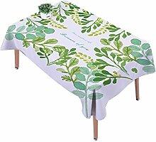 Ommda Tischdecke Leinen Tischdecke Abwaschbar Eckig Tischdecke Muster Pflegeleicht 140x140cm Eucalyptus Leaf mit 4 Stück Kissenbezug 45x45