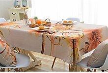 Ommda Tischdecke Leinenoptik Abwaschbar Tischdecke Wasserabweisend Muster Bunt Goldlotos Frühling Modern 110x170cm