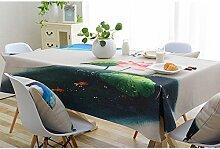 Ommda Tischdecke Leinenoptik Abwaschbar Tischdecke Wasserabweisend Muster Bunt Lotus Frühling Modern 140x180cm