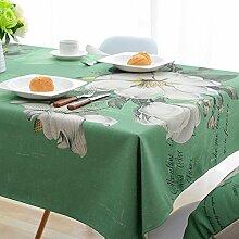 Ommda Tischdecke Leinenoptik Abwaschbar Tischdecke Wasserabweisend Muster Bunt Jasmin Blumen Frühling Modern 110x170cm