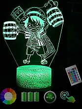On·e Pi·ece Mon·Key D L·uffy 3D Nachtlicht Led