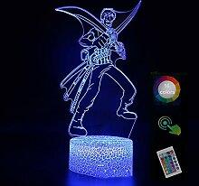 On·e Pie·ce R·oron·oa Zo·ro 3D Nachtlicht Led