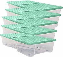 XXL Unterbettbox Aufbewahrungsbox Rollerbox Unterbettkommode Box Deckel Grün